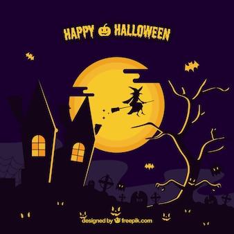 Fondo de halloween con fantasmas y bruja