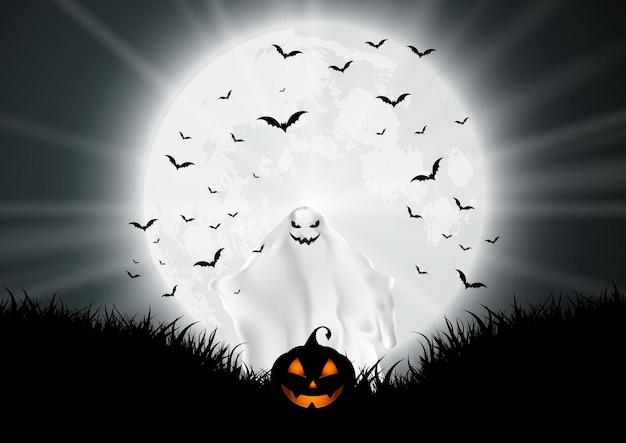 Fondo de halloween con fantasmas y calabazas en paisaje iluminado por la luna