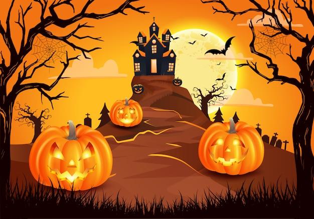 Fondo de halloween feliz con calabazas aterradoras con castillo espeluznante, murciélagos voladores y luna llena. ilustración para tarjeta, folleto, pancarta y póster de feliz halloween