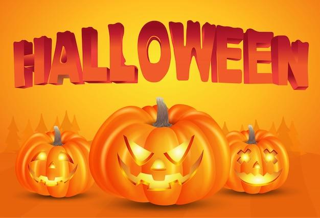 Fondo de halloween feliz con calabazas y tipografía de halloween sobre fondo naranja. ilustración para tarjeta, folleto, pancarta y póster de feliz halloween