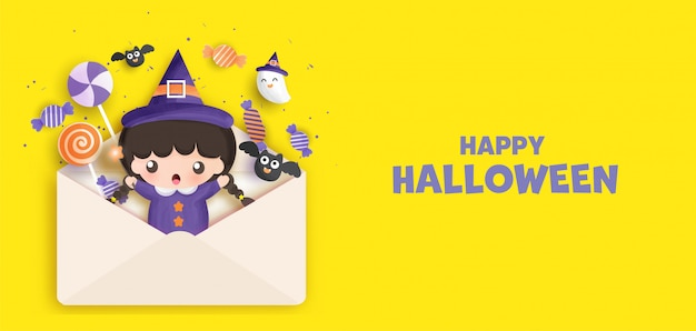 Fondo de halloween feliz con lindo frankenstein. .