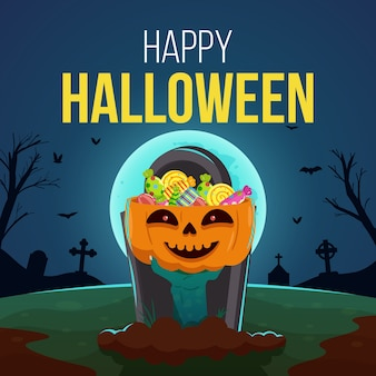Fondo de halloween feliz con mano de zombie sosteniendo calabaza llena de dulces