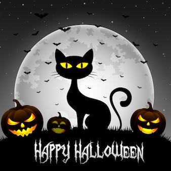 Fondo de halloween con gato y calabazas