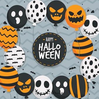 Fondo de halloween con globos de miedo
