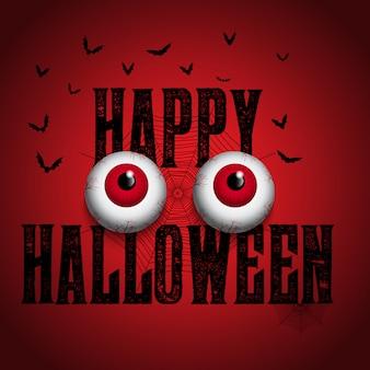 Fondo de halloween con globos oculares espeluznantes
