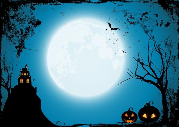Fondo de halloween de grunge con calabazas y castillo espeluznante