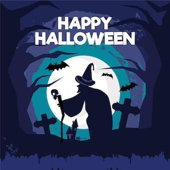 Fondo de halloween de grunge de diseño plano