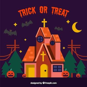 Fondo de halloween con iglesia terrorífica