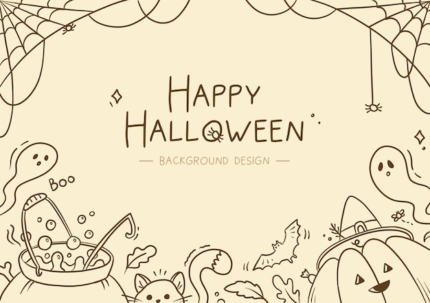 Fondo de halloween lineal dibujado a mano
