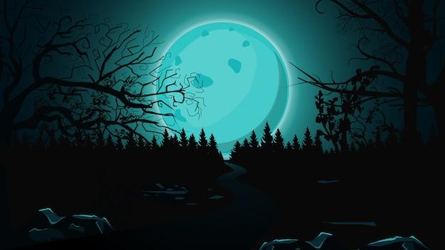 Fondo de halloween, luna llena azul, bosque oscuro y sendero solitario.