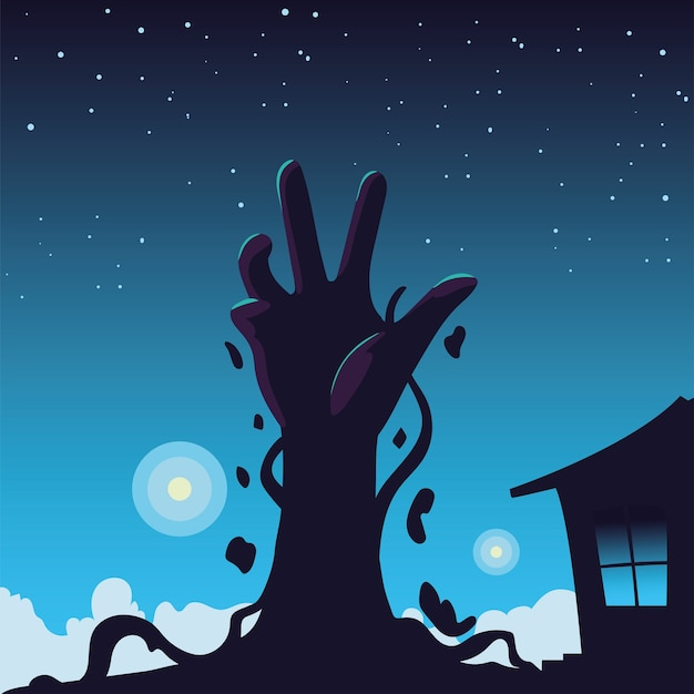 Fondo de halloween con mano zombie