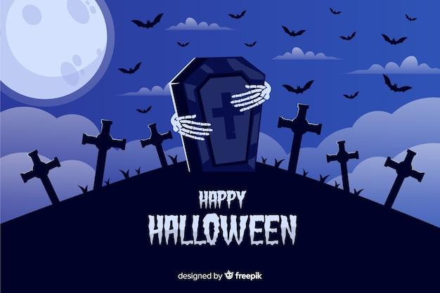 Fondo de halloween con manos de esqueleto y piedra de la tumba