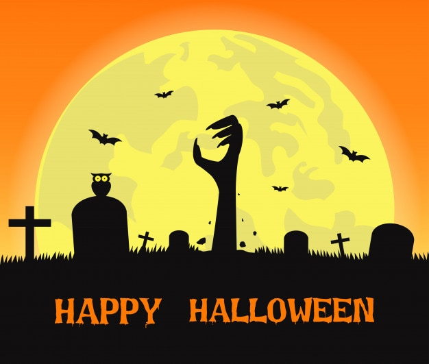 Fondo de halloween con manos de zombies