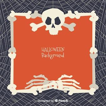Fondo de halloween con marco de huesos