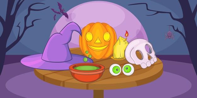 Fondo de halloween místico horizontal, estilo de dibujos animados
