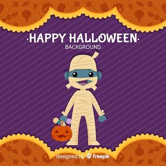 Fondo de halloween con momia adorable