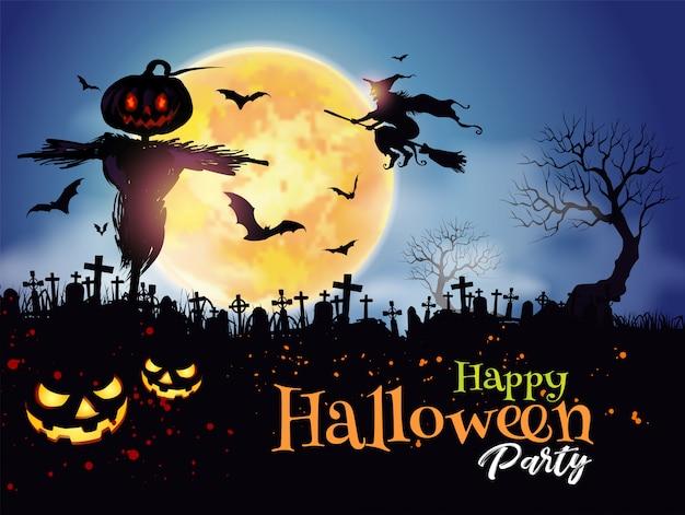 Fondo de halloween night mystery graveyard con calabaza