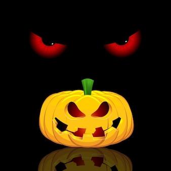 Fondo de halloween con ojos malignos y calabaza