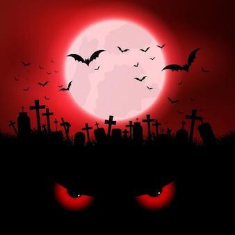Fondo de halloween con ojos malignos y cementerio