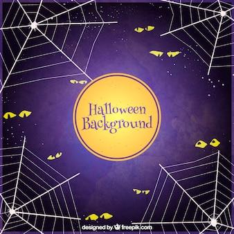 Fondo de halloween con ojos y telarañas