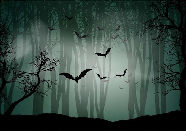 Fondo de halloween con paisaje de bosque neblinoso y murciélagos