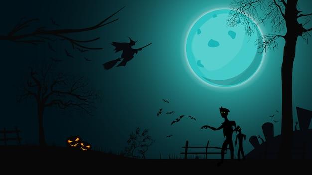 Fondo de halloween, paisaje nocturno con gran luna llena azul, zombie, brujas y calabazas