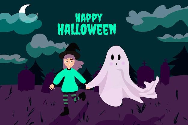 Fondo de halloween plano dibujado a mano