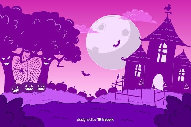 Fondo de halloween púrpura dibujado a mano
