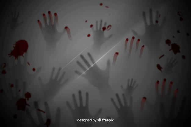 Fondo de halloween realista de manos aterradoras