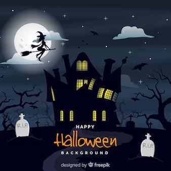Fondo de halloween terrorífico con diseño plano