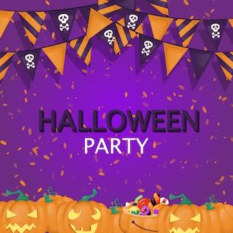 Fondo de halloween truco o trato dulces fiesta comida ilustración. invitación espeluznante espeluznante de otoño