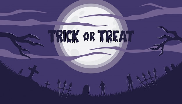 Fondo de halloween con zombie en el cementerio