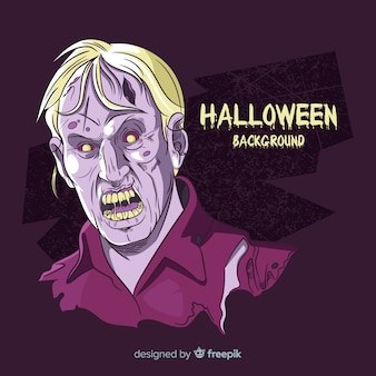 Fondo de halloween con zombie dibujado a mano