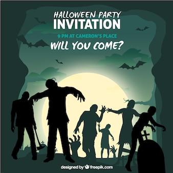 Fondo de halloween con zombis en el cementerio