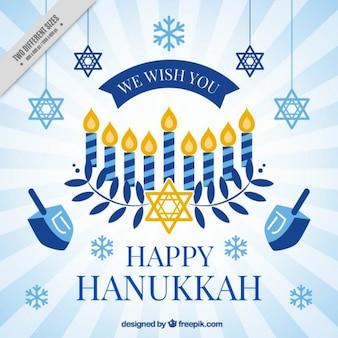 Fondo de hanukkah con copos de nieve y estrellas