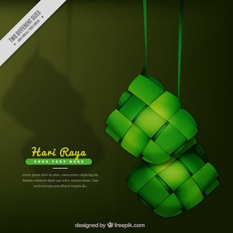 Fondo de hari raya en tonos verdes