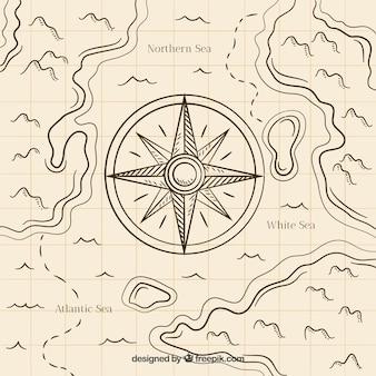 Fondo hecho a mano de brújula de mapa