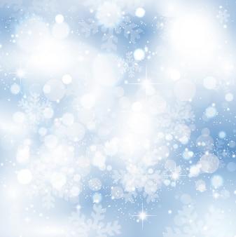Fondo helado brillante de copos de nieve