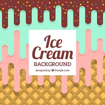 Fondo de helado de tres sabores en diseño plano