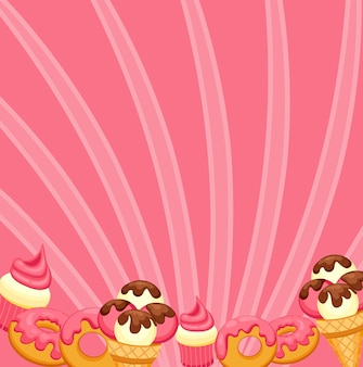 Fondo helado de vainilla, cupcake de fresa y donut con glaseado rosa.