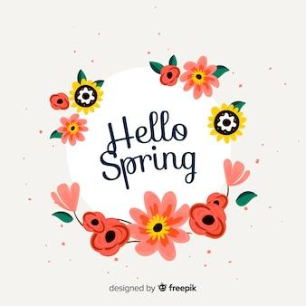 Fondo hello spring dibujado a mano