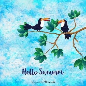 Fondo de hello summer de acuarela