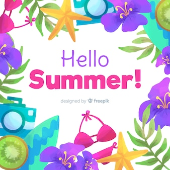 Fondo de hello summer en acuarela