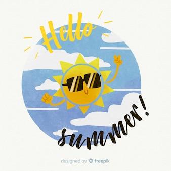 Fondo hello summer en acuarela