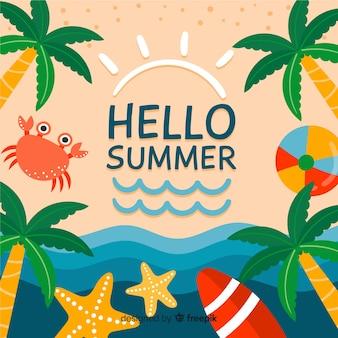 Fondo hello summer dibujado a mano