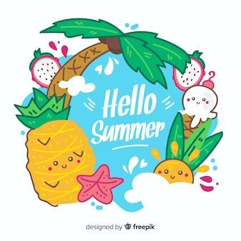 Fondo de hello summer dibujado a mano