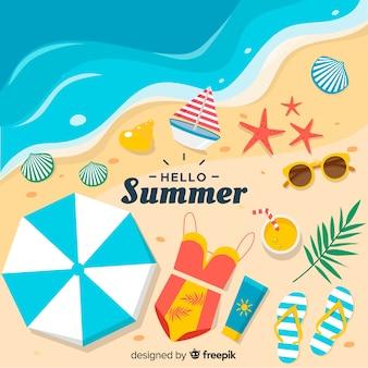Fondo de hello summer en diseño plano