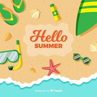 Fondo hello summer en diseño plano