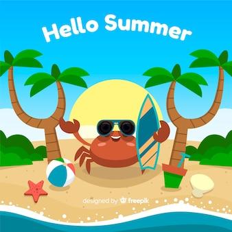 Fondo de hello summer flat