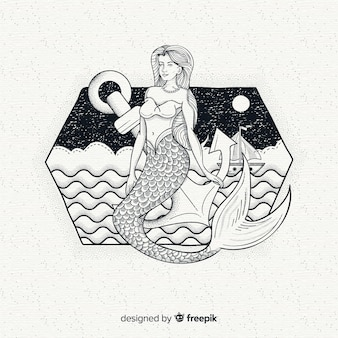 Fondo de hermosa sirena dibujada a mano